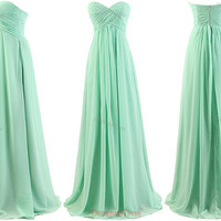 Green homecoming dress, long evening dress, chiffon party dress, green prom dress, green beach dress, formal evening gown for women