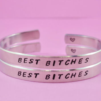 BEST BITCHES - Hand Stamped Aluminum Cuff Bracelets Set, Handwritten Font, Forever Love, Friendship, BFF