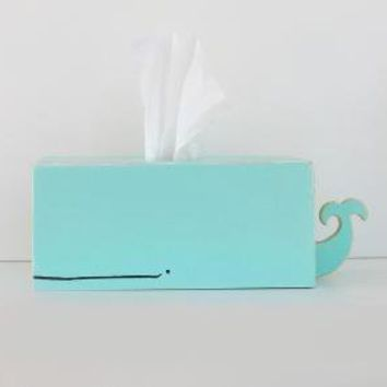 Whale Tissue Holder - Light Blue by gnomesweeeetgnome on Etsy