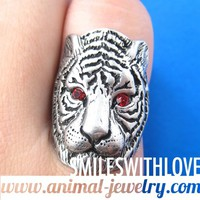 SALE Tiger Cat Animal Ring in Silver with Red Rhinestone Eyes Size 6.5