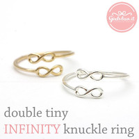 girlsluv.it - double tiny INFINITY adjustable knuckle ring, 2 colors