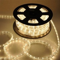 Flexible Warm White Illuminated 546 LED Bulbs Rope Light 50' Ft w/ Power Cord Connectors Holiday Strip Ribbon Decorative Lighting Outdoor Indoor Cuttable 110v:Amazon:Patio, Lawn & Garden