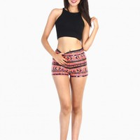 Sequin Indian Pattern Short - Pink