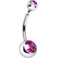 Internally Threaded Fuchsia Double Gem Belly Ring 11mm | Body Candy Body Jewelry