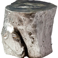 origins log stool - silver II - ABC Carpet & Home