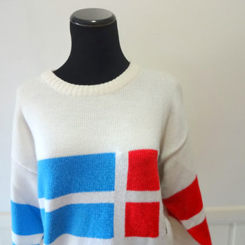 Vintage Blue, Red and Black Pattern Knit Sweater 1980s