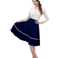 Navy Sally Swing Skirt - Unique Vintage - Prom dresses, retro dresses, retro swimsuits.