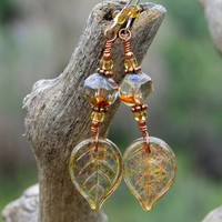 Autumn Leaf Handmade Earrings Czech Glass Amber Unique Beaded Jewelry