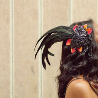 Black Feather Fascinator Headdress - with Sequins and Velvet Leaves - BUTTERFLY NOIR