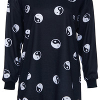 ROMWE | Yin Yang Print Black Sweatshirt, The Latest Street Fashion