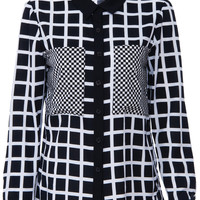 ROMWE | White Plaid Print Black Shirt, The Latest Street Fashion