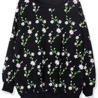 ROMWE | Daisy Print Black Sweatshirt, The Latest Street Fashion