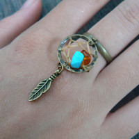 turquoise and amber brass dreamcatcher ring  in boho gypsy hippie hipster native american tribal fusion and tribal style