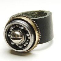 Leather steampunk ring - bearing and barrel clock parts - black leather unique ring