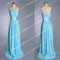 blue prom dress, chiffon prom dresses, cheap prom dress, blue bridesmaid dress, evening dress,  BE0218