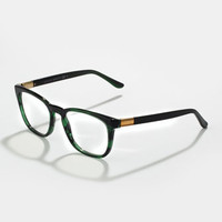 Ombre Square Fashion Glasses, Green Havana