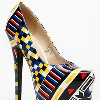 Bumper Multi Colored Abstract Print Platform Pumps @ Cicihot Heel Shoes online store sales:Stiletto Heel Shoes,High Heel Pumps,Womens High Heel Shoes,Prom Shoes,Summer Shoes,Spring Shoes,Spool Heel,Womens Dress Shoes,Prom Heels,Prom Pumps