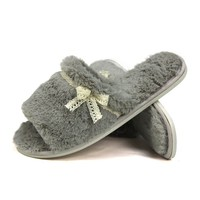 Ladies Bow Tie Fleece Slippers