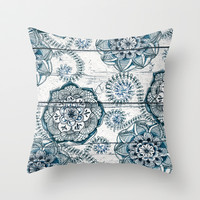 Navy Blue Floral Doodles on Wood Throw Pillow by micklyn
