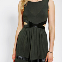 Tela Vegan Leather-Trim Cutout Dress