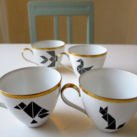4 porcelain stickers TANGRAM by Citoyennes on Etsy