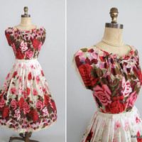 Vintage 1950s Dress  50s Garden Party Dress by RaleighVintage