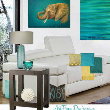 teal decor turquoise and orange yellow from artfromdenise. Black Bedroom Furniture Sets. Home Design Ideas
