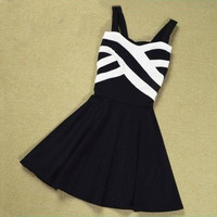 A 091214 Stripes Hit The Color Stitching Strap Dress