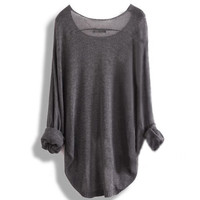 A 083101 aaa Long-sleeved knit shirt blouse hollow