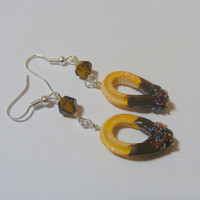 Churros Dipped in Chocolate Miniature Food Earrings- Miniature Food Jewelry,Handmade Jewelry Earrings