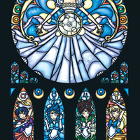 Full Size Stained Glass Sailor Moon Print