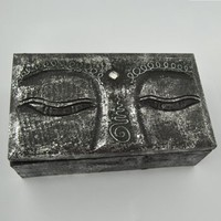 Buddha Eyes Hand Carved Treasure Box -- Mexicali Blues