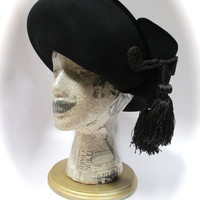 Vintage Whittall & Shon black felt hat with braid and tassel detail