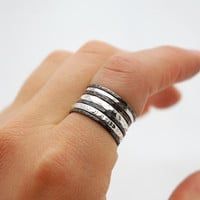 Simple Sterling Silver Stack Band Ring Set of 7 - Black Oxidized Rings - Simple Everyday Jewelry - Modern Minimal Rings -  Mix and Match