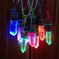 LED Glowing Crystal Necklace (Fade or Strobe)