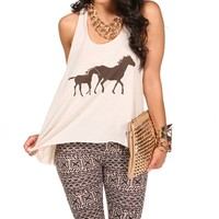 Tan/Chocolate Horse Tank Top