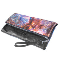Spiderweb Galaxy Leather Clutch, Zip Pouch