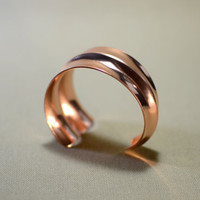 Copper double anticlastic asymmetrical massive cuff bracelet