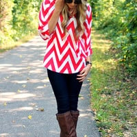 Can You Zig It Blouse - Red
