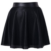 Faux Leather Tulle Skirt in Black