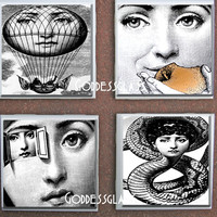 Glass Coasters Fornasetti Faces of Julia Gothic Snake Apple Cool SteampunkTrendy House Gift Drink Tile