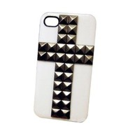 White Cross Metal Rivet Case for Iphone 5