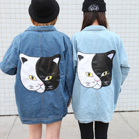 Black & White Cat Rivet Oversized Denim Jacket Dark Blue