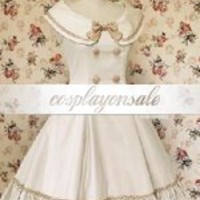 White Pintuck Sleeveless Bow Double Breasted Cotton Classic Lolita Dress [T110216] - $73.00 : Cosplay, Cosplay Costumes, Lolita Dress, Sweet Lolita