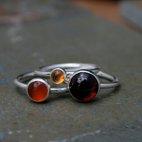 Maui Sunset Stacking Rings, Sterling Silver, Gemstone, Garnet, Citrine, Carnelian, Stackable Stack Ring Band