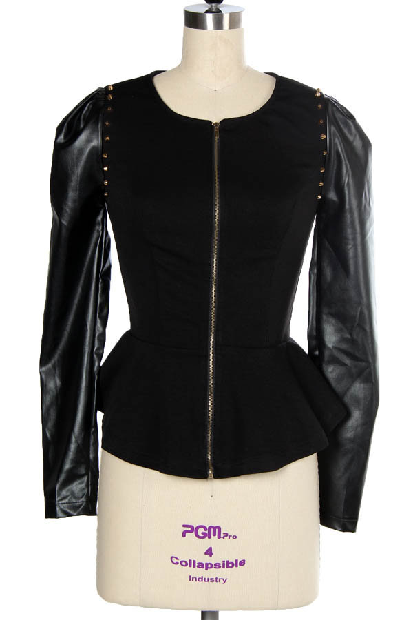 This top is dressy and sexy, featuring a peplum waist, faux leather finish, zip up, collared and long sleeves. Can be worn with zipper in back as a top or zipper in the front as a jacket.