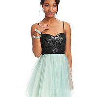 Trixxi Juniors Dress, Spaghetti-Strap Sweetheart Sequin Tulle - Juniors Homecoming Dresses - Macy's