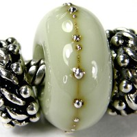 Glass Charm Large Hole Lampwork Bracelet Bead Pale Olive Green Silver