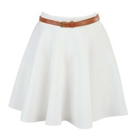 Cream Skater Skirt at Fashion Union