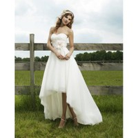 Elaborate Strapless Sweetheart Applique Organza A-Line Informal Wedding Dress - Basadress.com